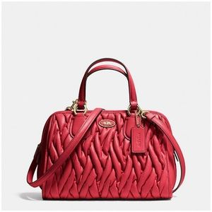 Coach Handbag in Red Gathered Leather